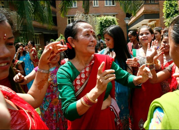 Anuradha Koirala, the founder of Maiti Nepal, celebrates