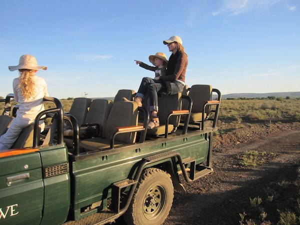 A family on safari in Namibia