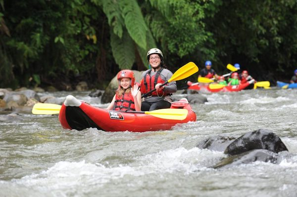 Ecotourism and family travel in Costa Rica: families taking part in Club Rio Kayaking in Costa Rica