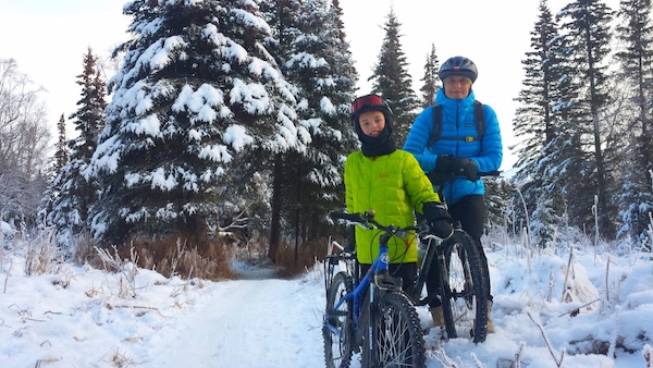 Snow bikers in Alaska