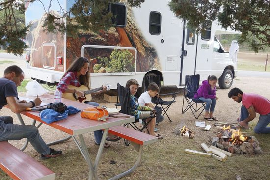 Family travel and camping - Family enjoying time together at a campground