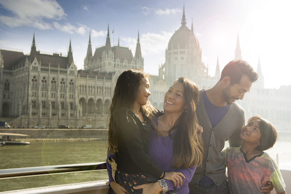 Family travel and river cruising on the Danube River in Europe
