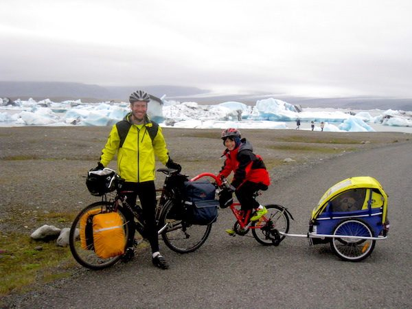 Charles Scott and his two children on their cycling adventure in Iceland