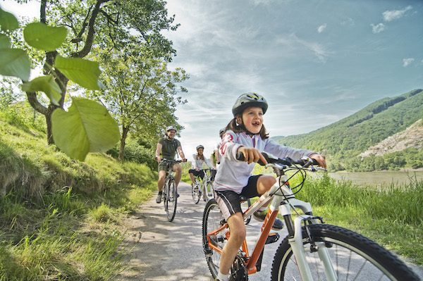 Family travel by bicycle: Kids on a bike in a vineyard
