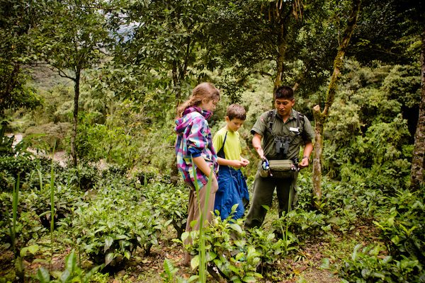 Kids learning about nature on a trail in Peru