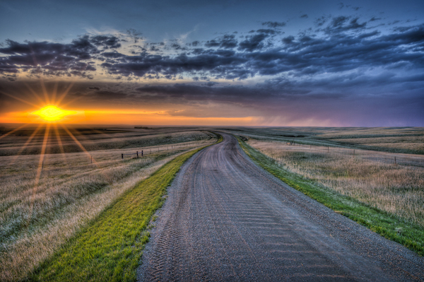 Sunset prairie of South Dakota