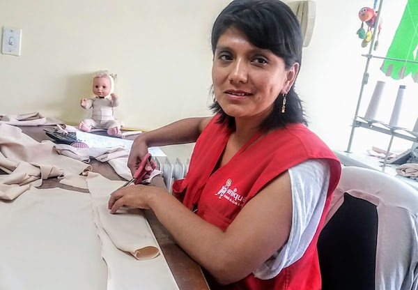 Jessica Lazo crafts custom-made pressure garments for patients at Aniquem in Lima, Peru